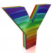 Letter Y from fur rainbow alphabet  — Stock Photo