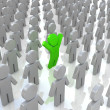 Illustration of the especial person, standing in the middle of many others — Stock Photo