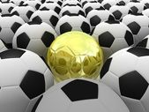 3D rendered soccer balls background. Concept of unique — Stock Photo