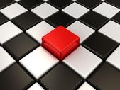 Red cube. Chess background. Concept of Unique. — Stock Photo