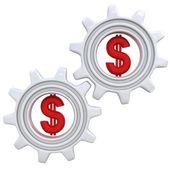 Gears with dollar sign — 图库照片