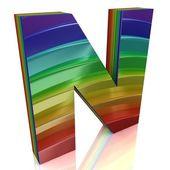 Letra n de alfabeto de arco-íris de peles — Fotografia Stock