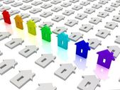 Rainbow house icons. Concept of unique — Stock Photo
