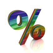 Znak procenta od rainbow sady — Stock fotografie