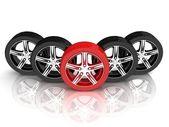 Wheels. Concept of unique. — Stock Photo
