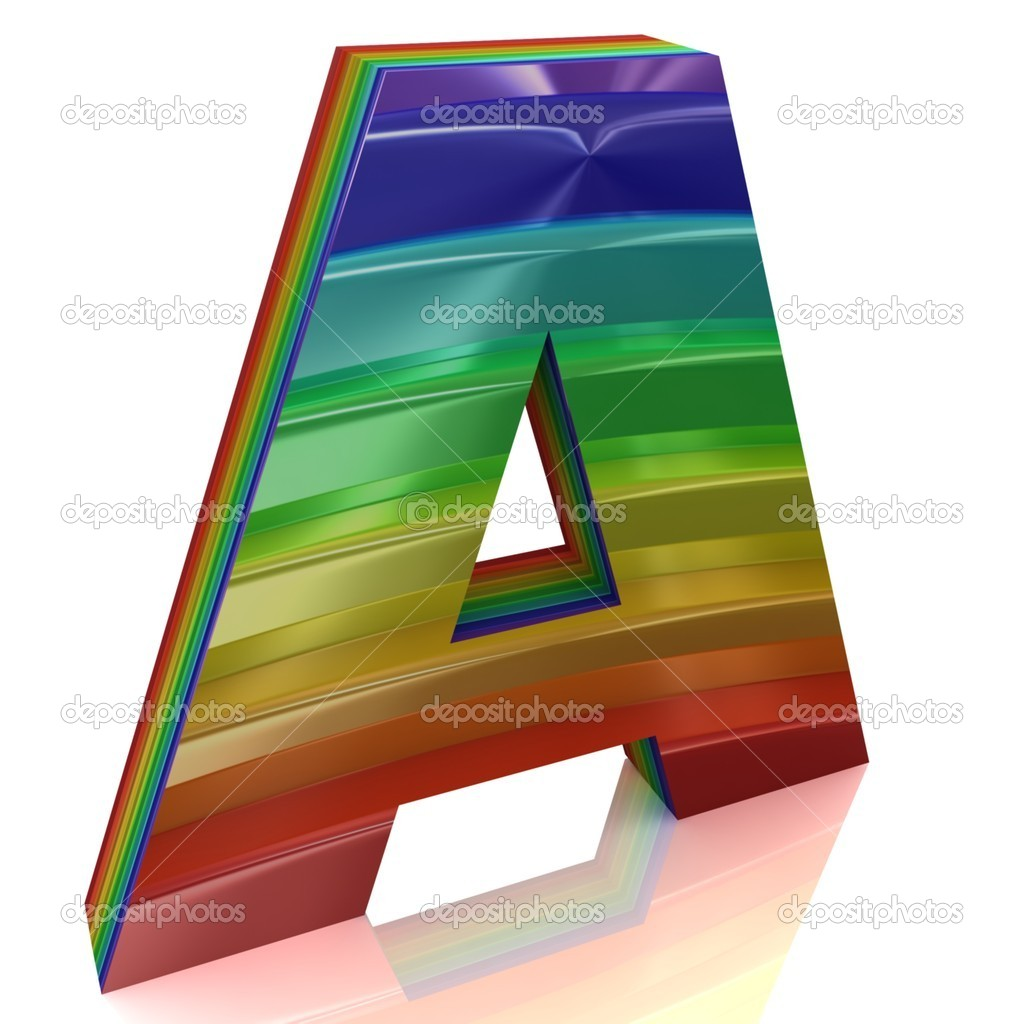Letter A from fur rainbow alphabet — Stock Photo #10094928