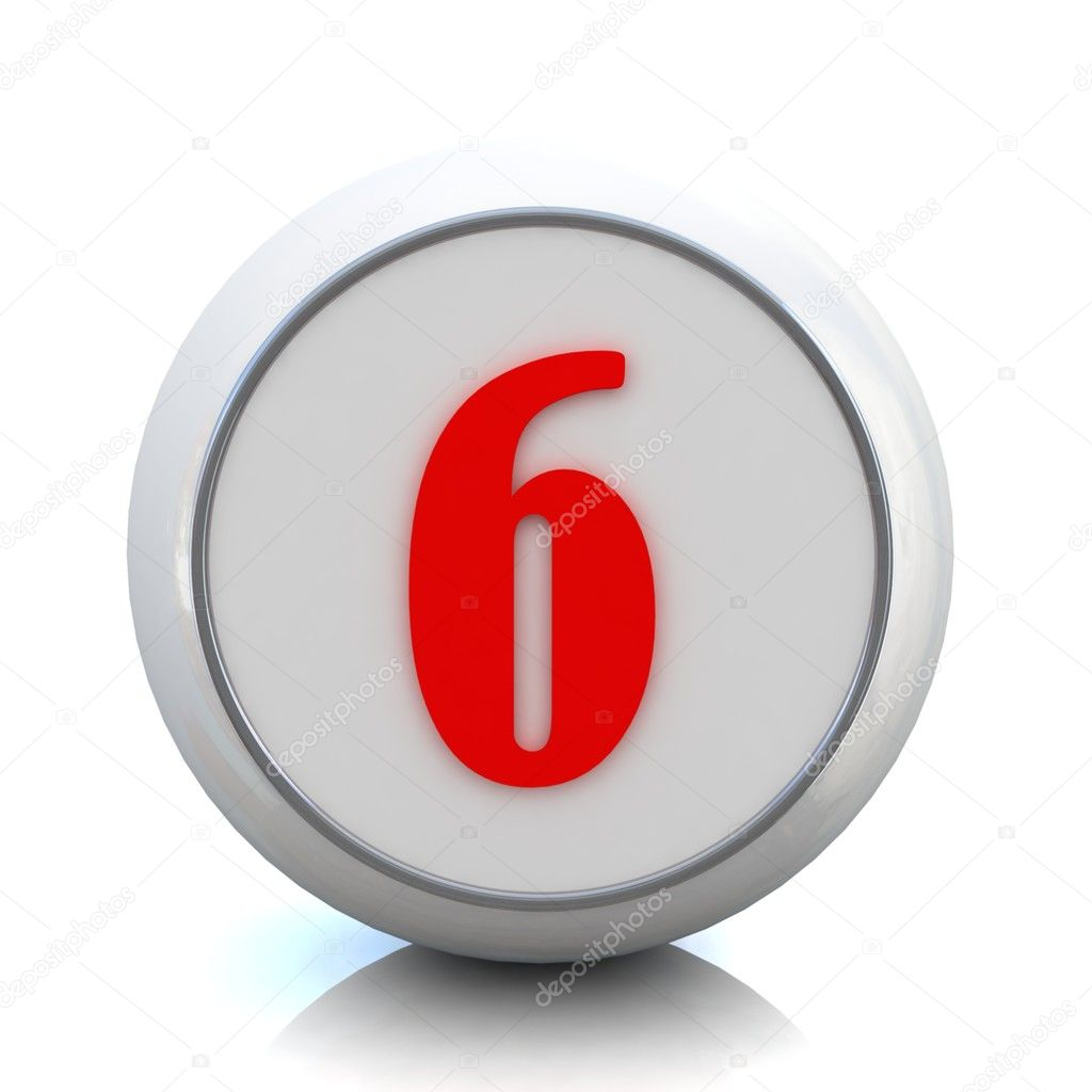 "3d red button with number ""6"" — Stock Photo #10095284"