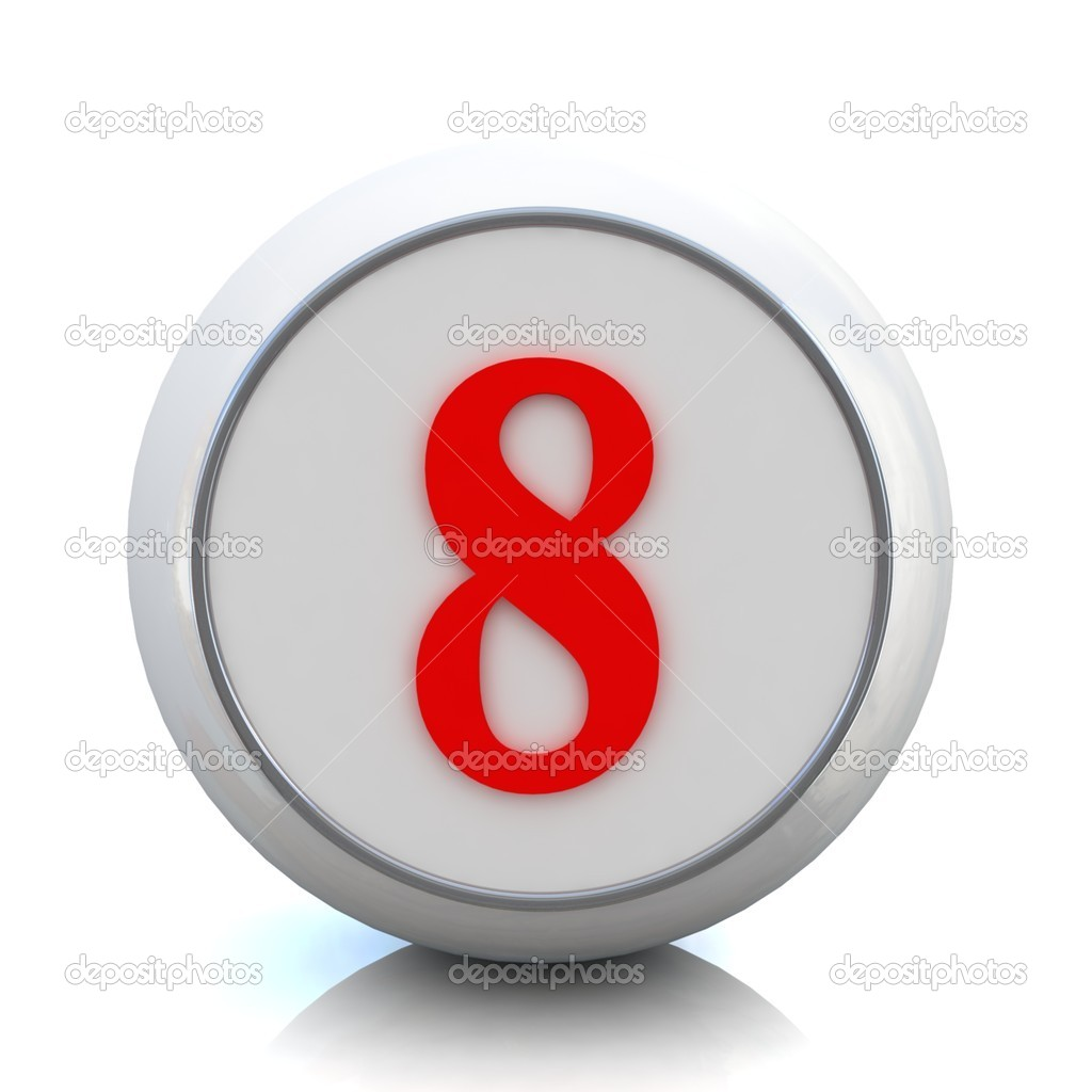 "3d red button with number ""8"" — Stock Photo #10095291"