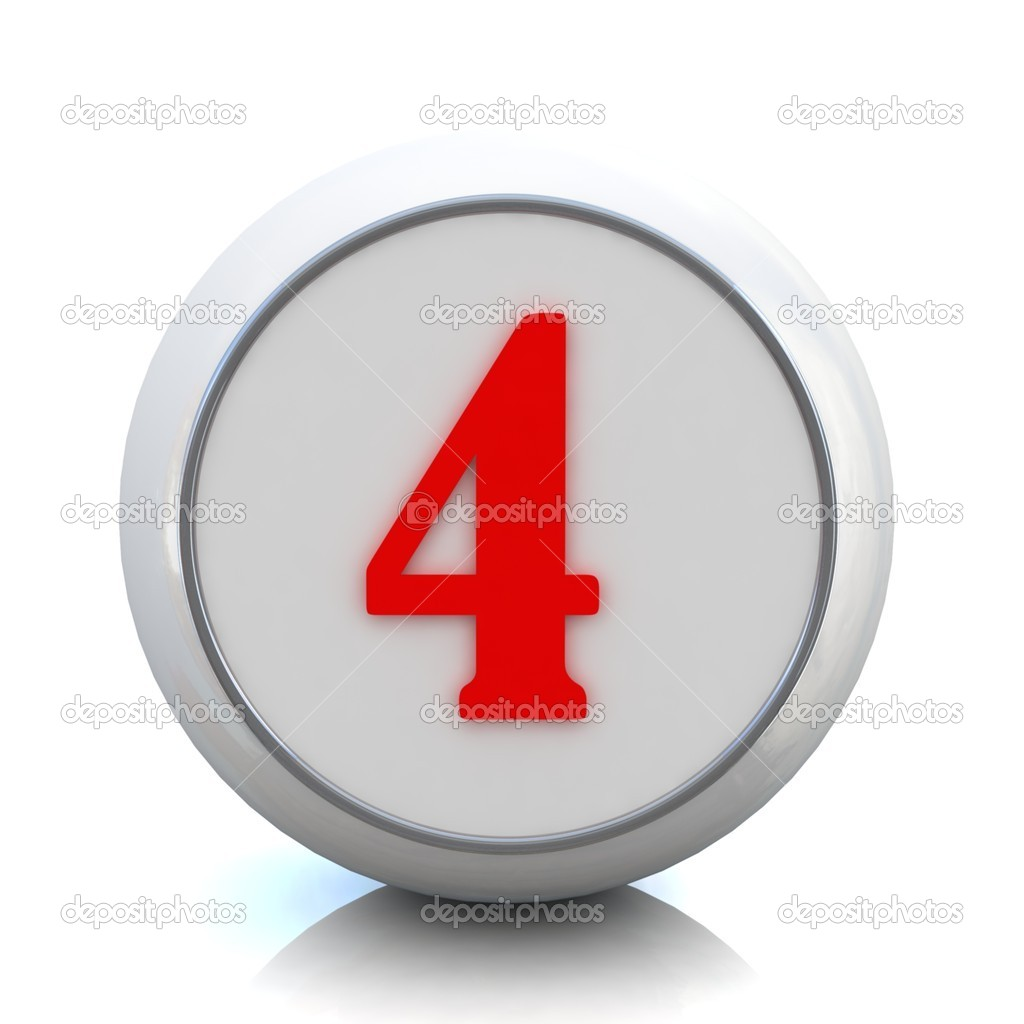 "3d red button with number ""4"" — Stock Photo #10095305"