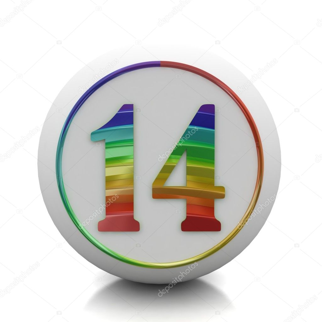 round button with number 14 from rainbow set  u2014 stock photo