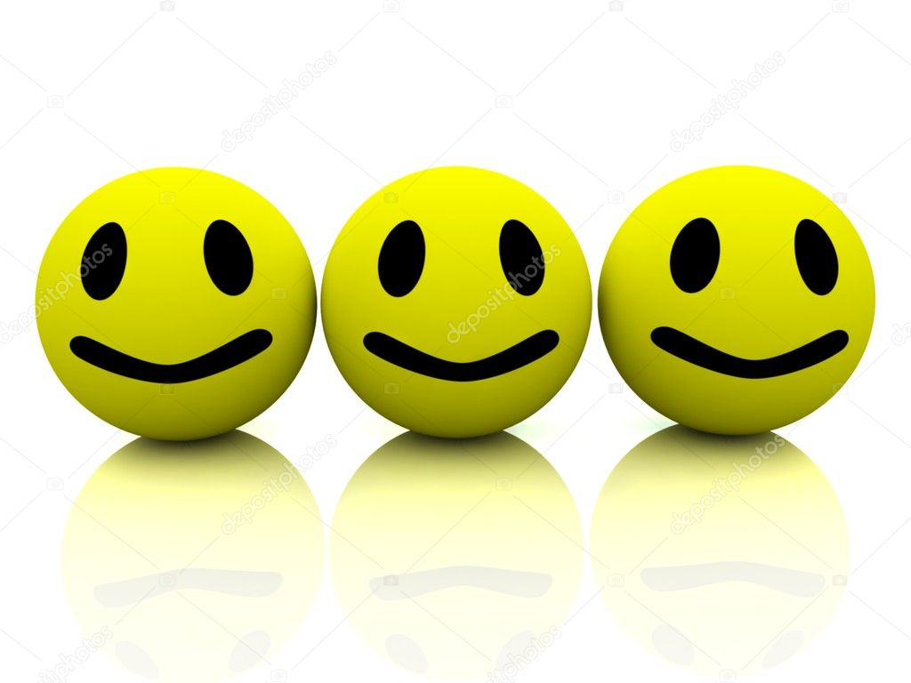 3d yellow smiling faces  Foto de Stock   #10098329
