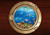 Underwater view through the porthole — Stock Photo