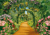 Flower alley with flower arches — Stock Photo