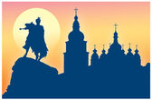 Silhouette of St Sophia Cathedral and monument to Khmelnitsky — Stock Vector