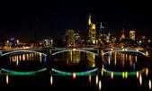 Frankfurt skyline at night — Stock Photo
