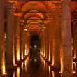 Illuminated basilica cistern — Stock Photo