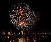 Firework over the Rhine river — Stock Photo