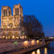 Notre Dame at the river Seine during twilight — Stock Photo