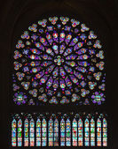 Stained Glass Window of Notre Dame — Stock Photo