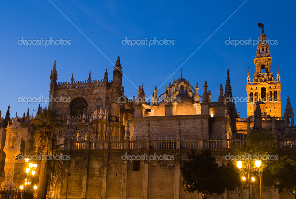 Cathedral of Seville at the blue hour, Andalusia, Spain  Stock Photo #10633019