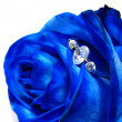 Blue rose with engagement ring — Photo