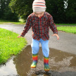 Boy in puddle - Stock Photo