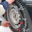 Car tire chains — Stock Photo