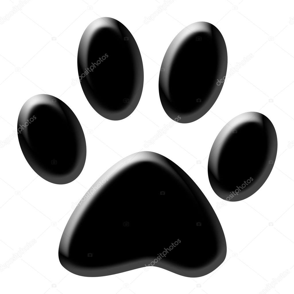 (猫或狗) 的可爱爪印.白色背景上的黑色– 图库图片