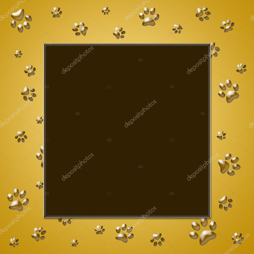 Brown frame with paw print — Stock Photo #10114686