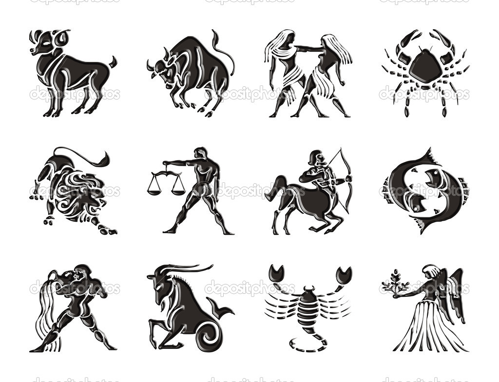Glossy sings of the Zodiac, on white background — Stock Photo #10232998