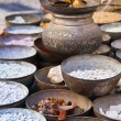 图库照片: Copper dishes on market