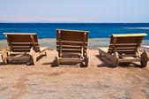 Wooden sunbeds — Stock Photo