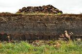 Horizontal peat digging on Harris, Scotland — Stock Photo