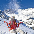 Stock Photo: Smiling girl snowboarder
