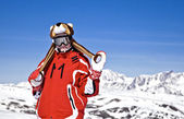 Smiling girl snowboarder — Stock Photo