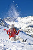 Smiling girl snowboarder — Stock Photo