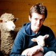 Surrounded by the owner of sheep and calves - Stock Photo