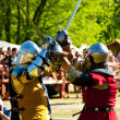 Medieval knights in battle — Stock Photo