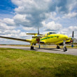 Small aircraft on runway — Stock Photo