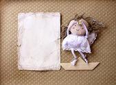 Bir bebek ile Retro kartpostal — Stok fotoğraf