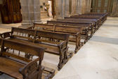 Wooden benches of church — Stock Photo