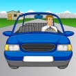 Royalty-Free Stock Vector Image: Man Driving Car