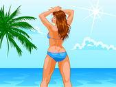 Woman On Beach — Stock Vector