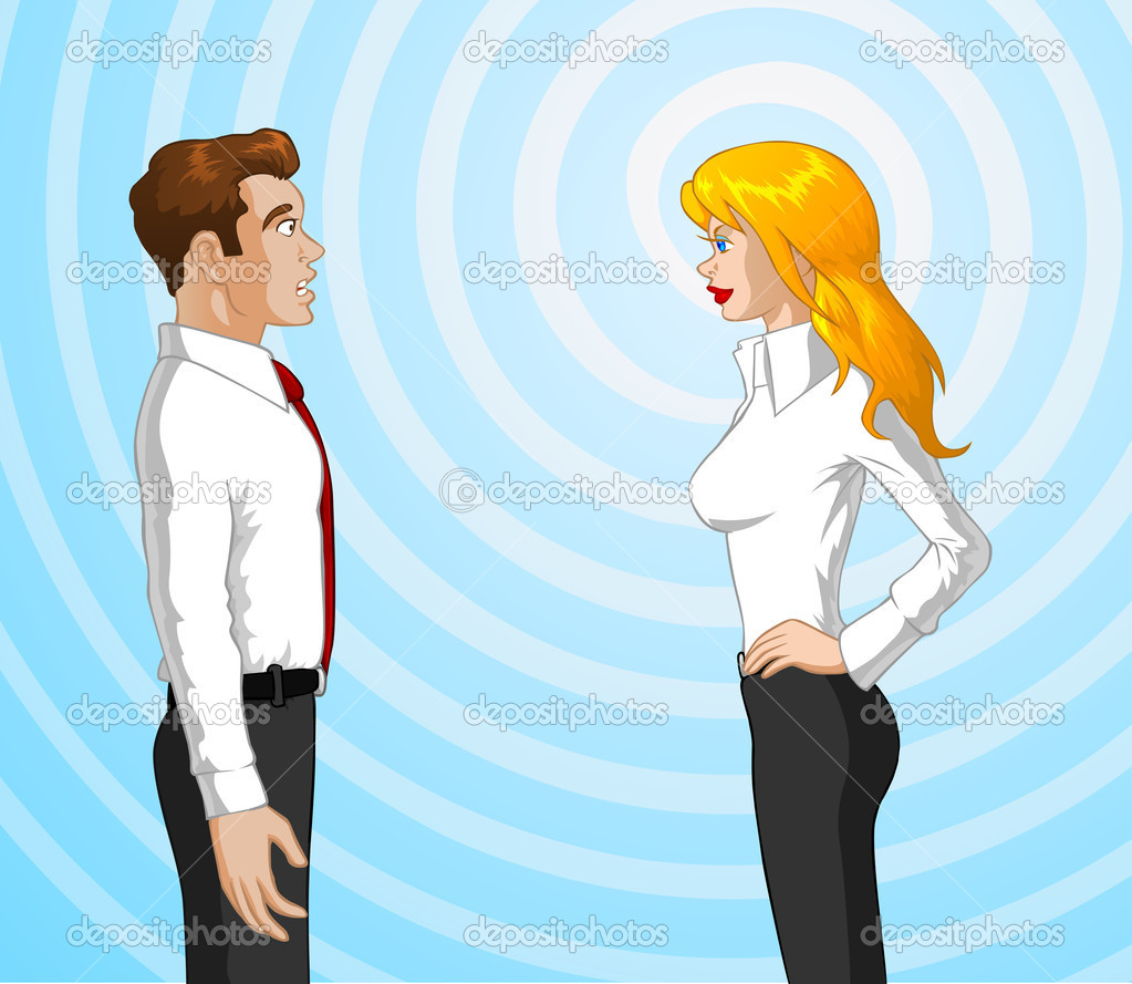 Vector illustration of a woman using hypnoses on a man. — Stock Vector #10073479