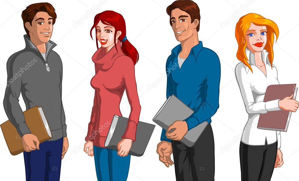 Vector illustration of students.  Stock Vector #10075078