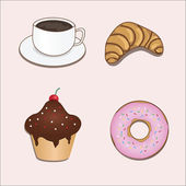 Vector set with coffe and sweets — Stock Vector