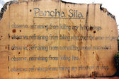 Bord of Five Precepts in Buddhism, entrance of Buddha's Birth Place — Stock Photo
