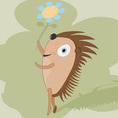 Hedgehog with flower. — Stock Vector