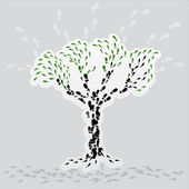 The abstract tree made from boot prints. — Stock Vector