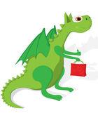 Green cute dragon. — Stock Vector
